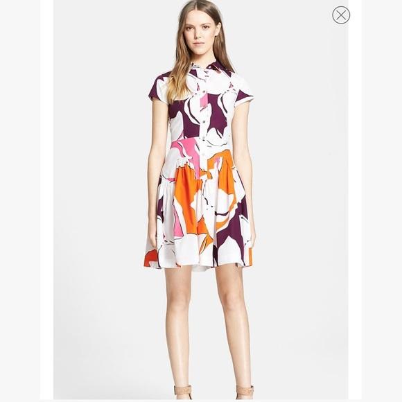 "Diane Von Furstenberg Dresses & Skirts - DVF ""scarlet"" orange and pink printed shirtdress"
